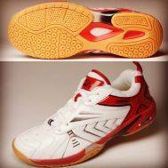 NEW DONIC PRO TABLE TENNIS SHOES RED / WHITE WITH EXTRA CUSHION AND ARCH SUPPORT